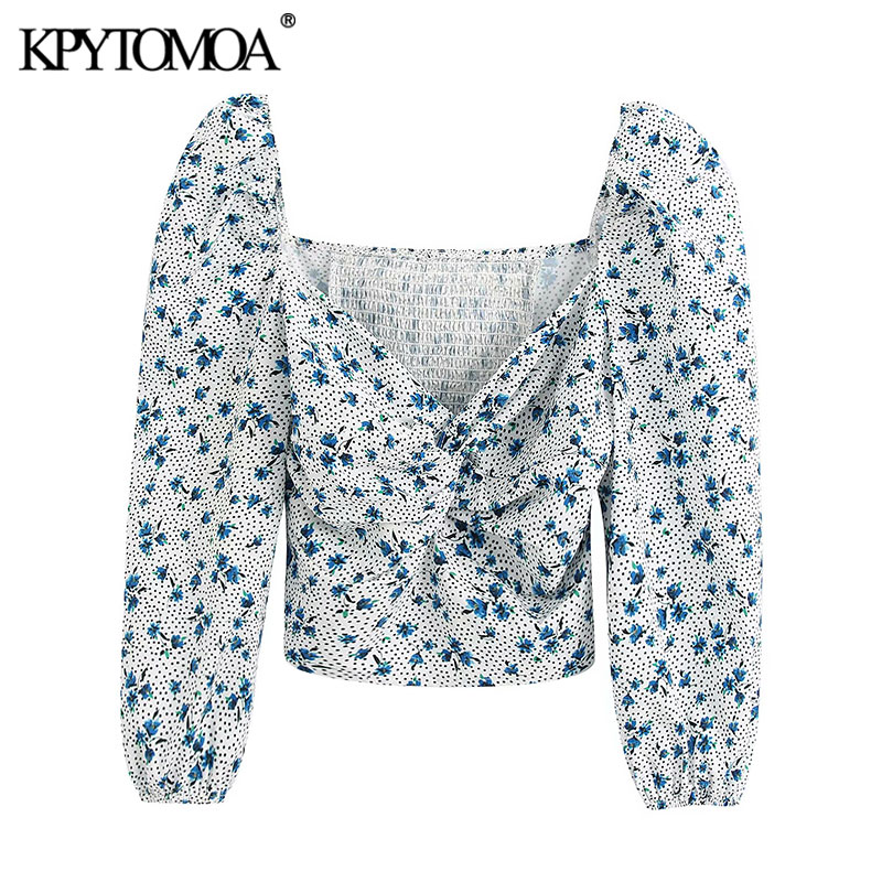 KPYTOMOA Women 2020 Fashion Floral Print Cropped Blouses Vintage Three Quarter Sleeve Back Stretch Female Shirts Blusa Chic Tops