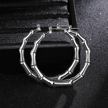 60mm Hiphop Gold/Silver Color Bamboo Hoop Earrings Woman Hot Brand Big Circle Round Hoops Statement Ear Jewelry Kolczyki