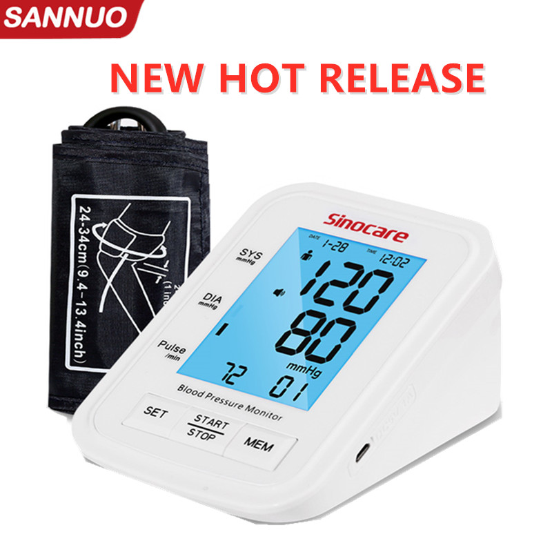 Sinocare Blood Pressure Monitor Tensiometer Upper Arm Automatic Digital BP Machine Pulse Heart Rate Meter 3 Color LCD Display