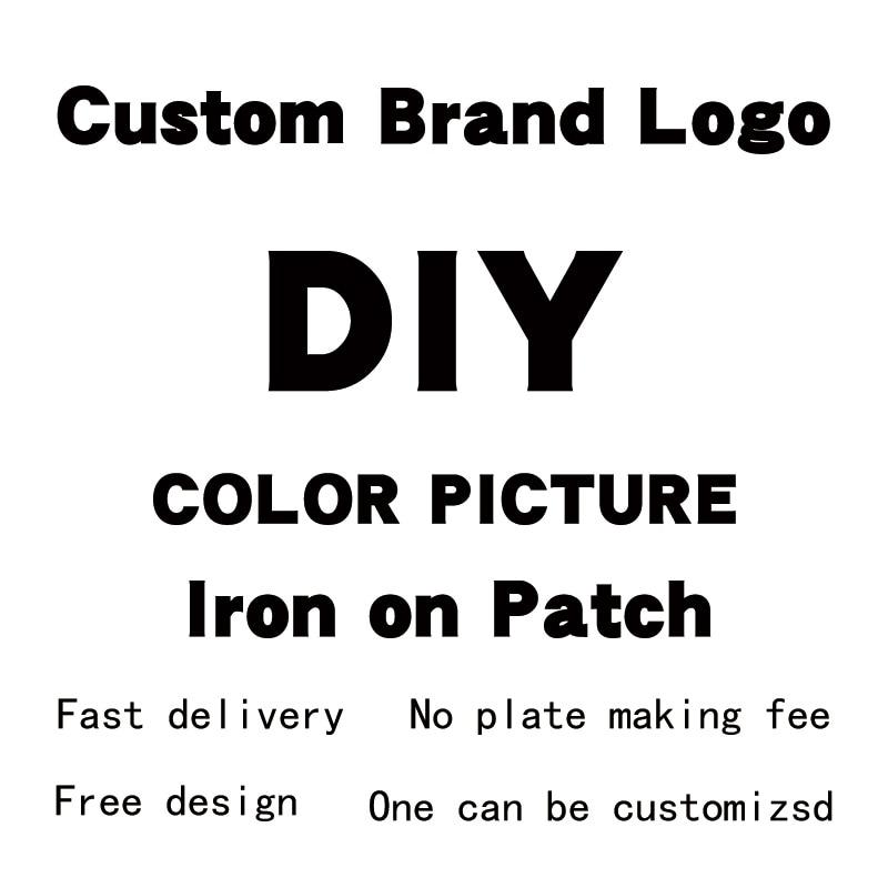 Logotipo da empresa personalização ferro na transferência suporte personalização na camiseta vestuário impressão diy apliques adesivos em roupas