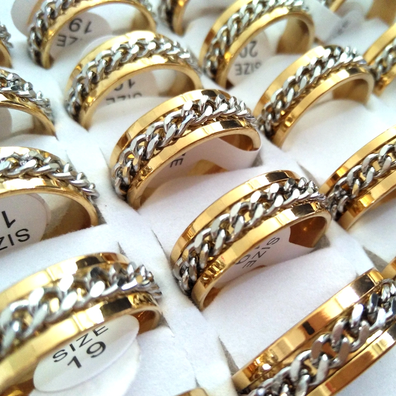 Image 5 - 30pcs High Quality Comfort fit Men's SPIN Chain Stainless steel Spinner Rings Wholesale Jewelry Job Lots-in Rings from Jewelry & Accessories
