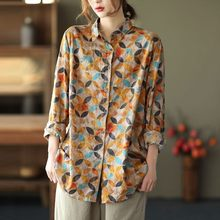 Women Cotton Linen Casual Shirts New 2021 Spring Arts Style Vintage Print Turn-down Collar Loose Female Long Sleeve Tops S3636