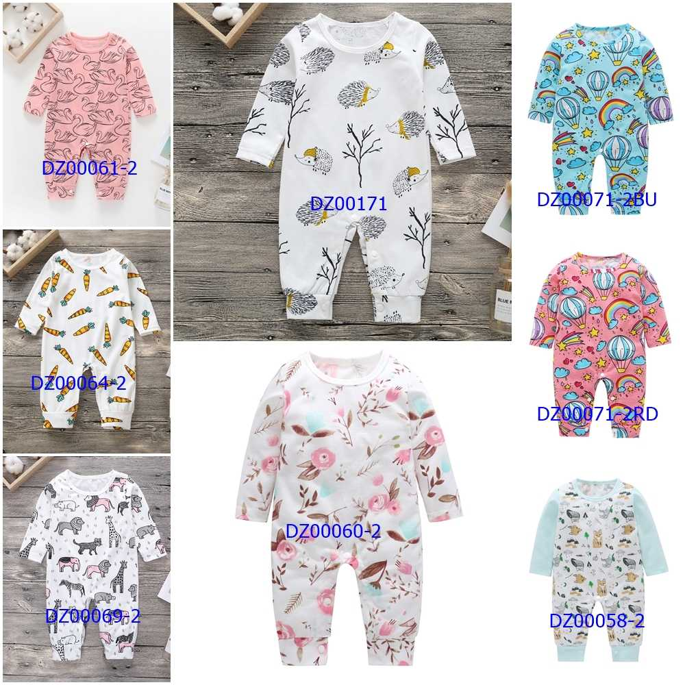 Nueva ropa de bebé recién nacido, mameluco para niños y niñas, estampado de coches de dinosaurio Floral, mameluco de algodón de manga larga, Mono para niños, trajes de juego