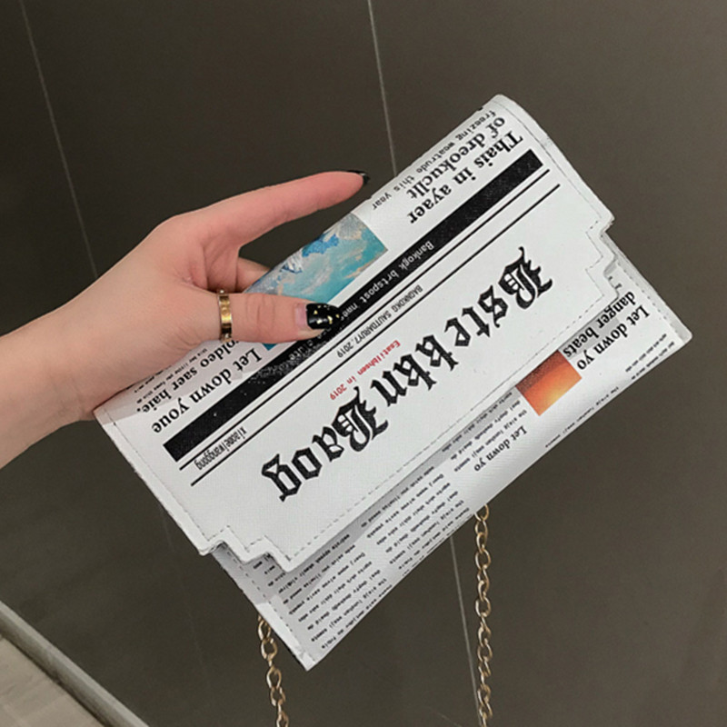 GEONYIEEK Envelope Bag Women 2019 New Personality Inkjet Newspaper Clutch Bags Joker Shoulder Messenger Bag Chain Evening Bags