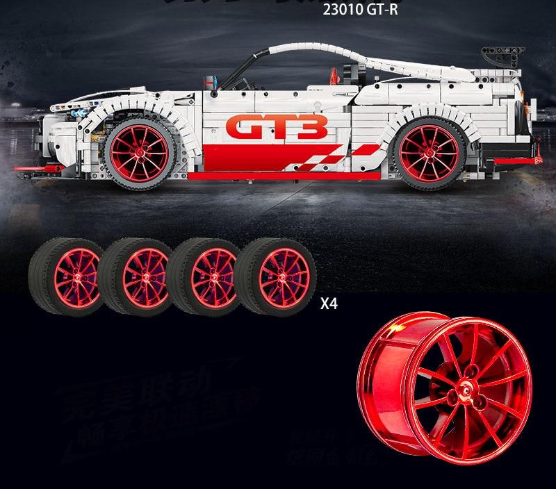 Ford Mustang Hoonicorn RTR V2 Racing Car with power function led light legoinges Technic MOC-22970 building block bricks Kids 23