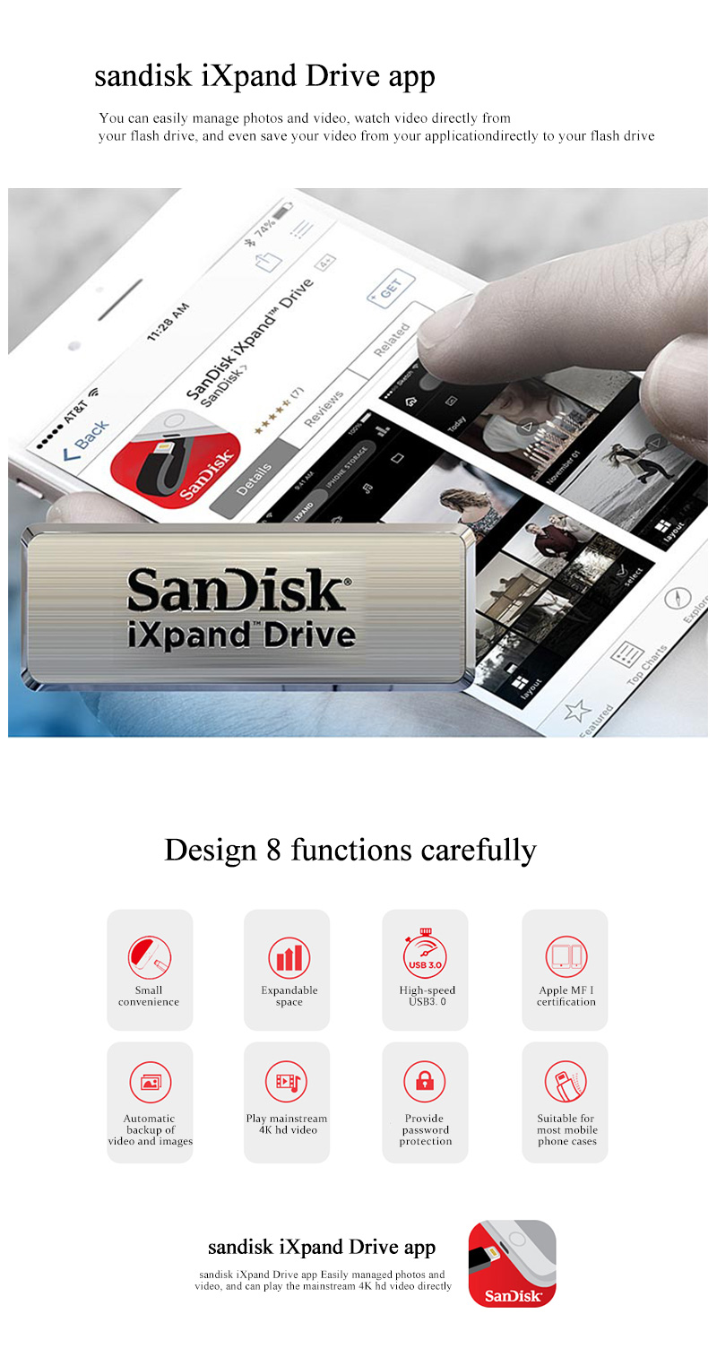 100% Original SanDisk IXPAND USB Flash Drive 128GB Lightning metal IX40 USB 3.0 For iPhone iPad 64GB Memory USB Stick