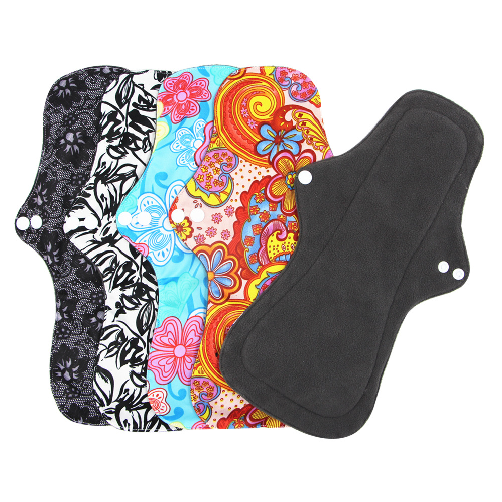 Washable Sanitary Pads Bamboo Cotton Cloth Pads Reusable Serviette Hygienique Cartoon Print Women Menstrual Pads Size XL Adult