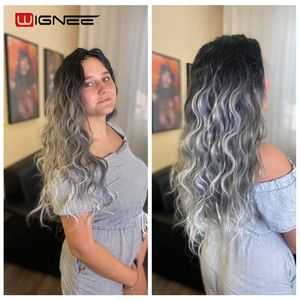 Image 3 - Wignee Extensions de cheveux synthétiques longues ondulées avec Closure, tissage résistant à la chaleur, de couleur violette/grise, pour femmes
