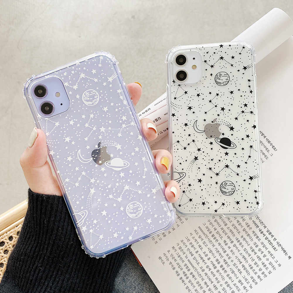 Outer Space Planeet Sterren Maan Ruimteschip Soft Clear Tpu Case Fundas Voor Iphone 11 Pro Max Xr X Xs Max 7 8 7 Plus 8 Plus Cover Cases