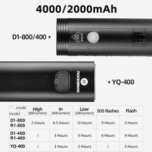 Image 2 - ROCKBROS 400/800 루멘 자전거 전면 빛 방수 자전거 LED 빛 손전등 USB 충전 MTB 도로 자전거 헤드 라이트 투광 조명