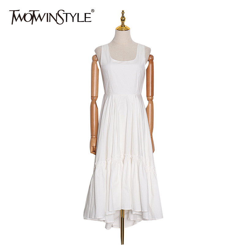 TWOTWINSTYLE White Women's Dress Square Collar Off Shoulder Sleeveless High Waist Elegant Dresses Female 2020 Spring Fashion New