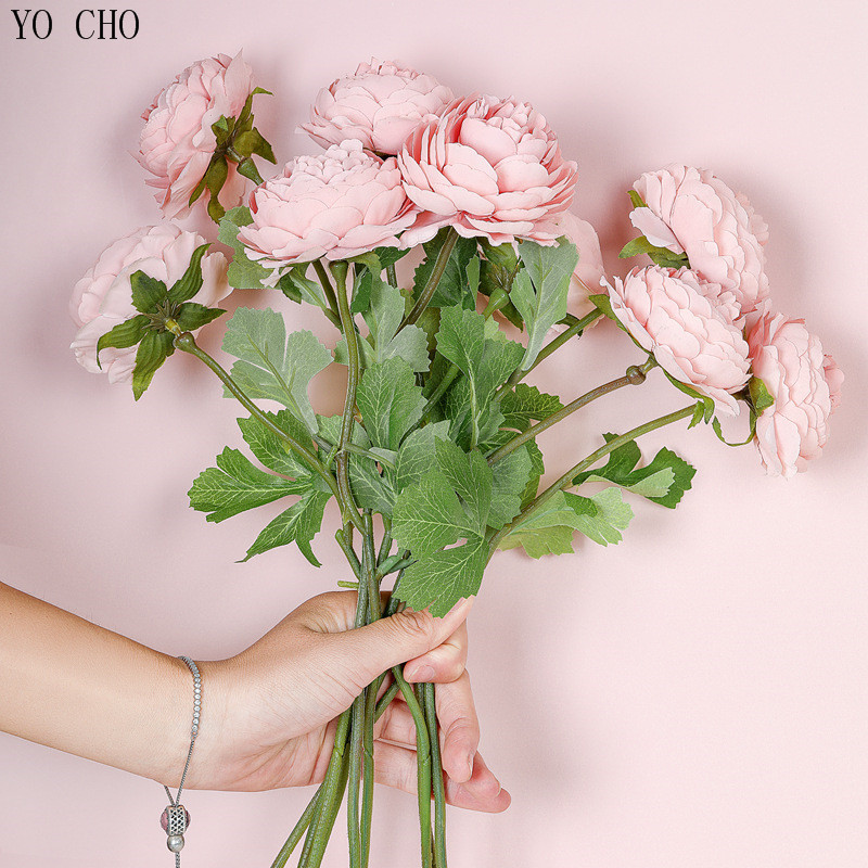 Fake Roses Artificial Flowers Silk Rose Flores For Wedding Table Center Door Decor Winter Pink White Faux Small Flowers Branch