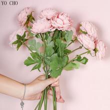 Sztuczne róże sztuczne kwiaty jedwabne róże Flores na stół weselny Center dekor drzwiowy zimowy różowy biały Faux małe kwiaty oddział tanie tanio YO CHO SILK 15 1inch 2 7inch Fake Roses Artificial Flowers Silk Rose Flores Bukiet ślubny 0 02kg Silk Rose Flores for Wedding Table Center Door Decor