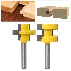 """Image 2 - 2 sztuk 1/4 """"8mm zestaw do cięcia frezu Shank Tongue & Groove zestaw bitów rozwiertaków 3 zęby t kształt akcesoria do drewna narzędzia do obróbki drewna"""