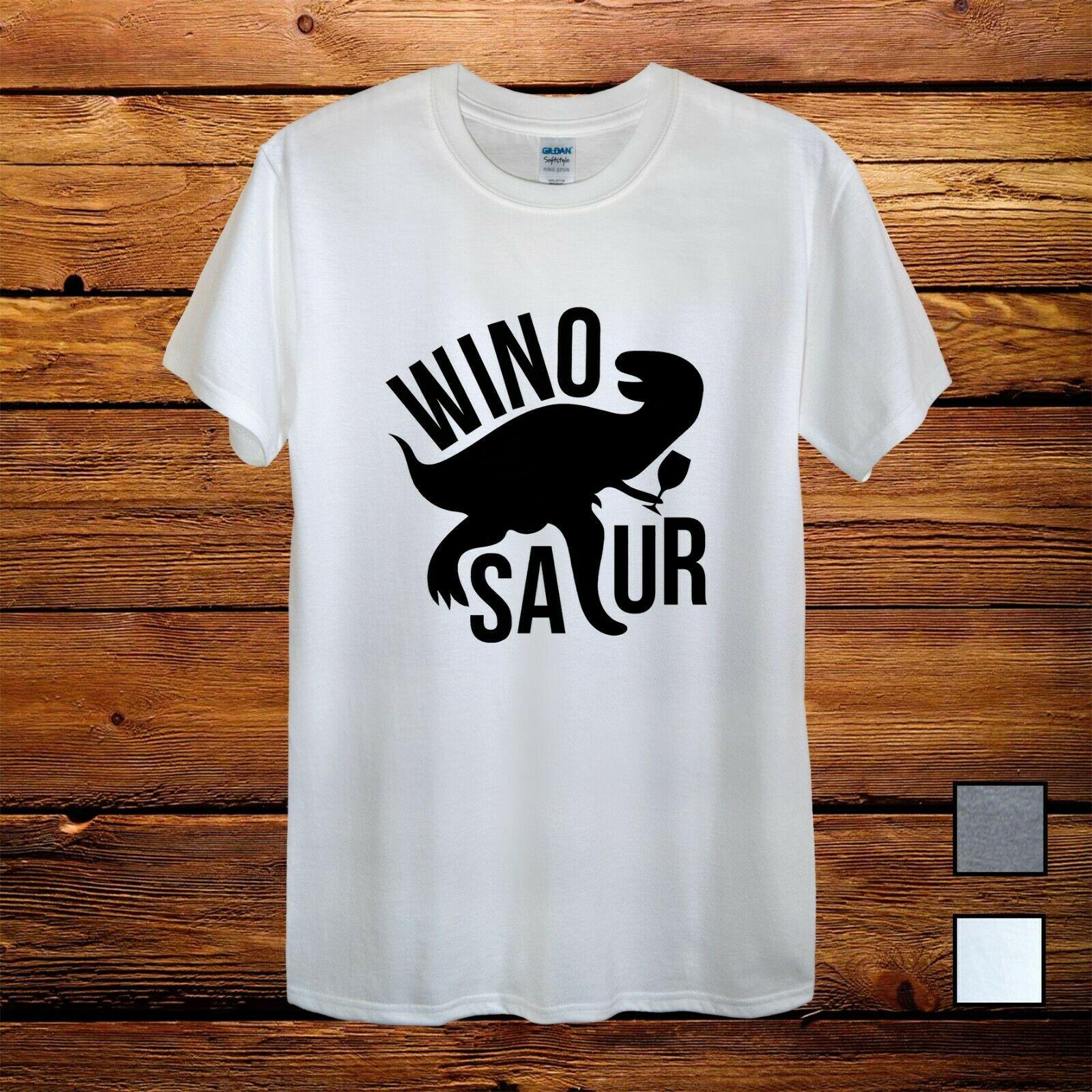 T Rex Winosaur Wine Gift Grey Fun Design T Shirt Men Unisex Women Fitted T Shirts Aliexpress