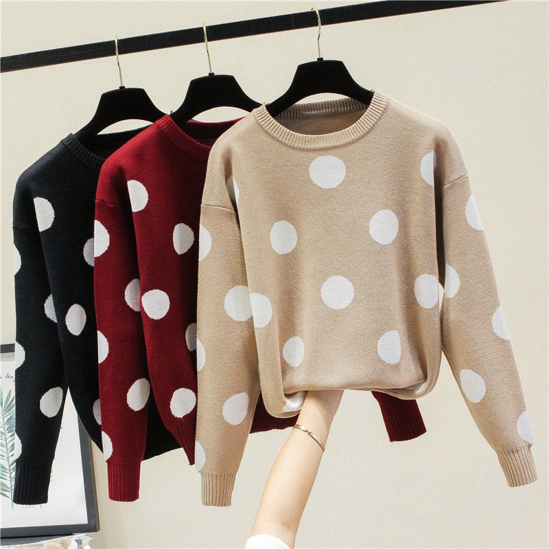 OHRYIYIE Loose Long Sleeve Polka Dot Sweater Female Casual Pullover Knitted Tops Ladies Autumn Winter O-neck Sweaters Jumpers