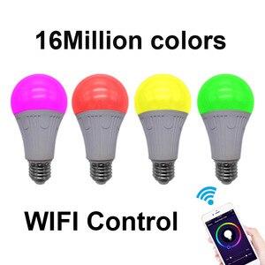 Image 2 - WiFi החכם Led אור הנורה E26/E27 מנורת A19 7W חם 3000K קר לבן 6000K RGB שלט רחוק Tuya Alexa גוגל עוזר הבית