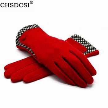 Zimowe rękawiczki CHSDCSI cienkie rękawiczki na nadgarstki ciepłe kaszmirowe rękawiczki wysokiej jakości nowe markowe damskie rękawiczki futrzane na rękawiczki damskie tanie i dobre opinie Dla dorosłych WOMEN Cashmere Patchwork Nadgarstek Moda G103 Red yellow blue orange pink green beans brown Button