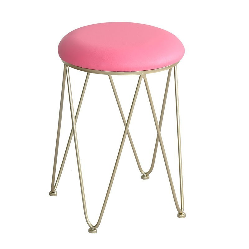 Concise Modern Ins Low Stool Bedroom Soft Iron Package Nothing Backrest Dining Chair Northern Europe Golden Dresser Stool