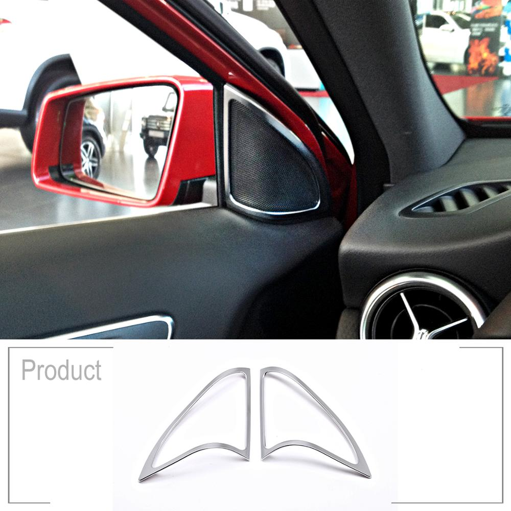 ABS Chrome Car Door Audio Speaker Frame Cover Trim Sticker For Mercedes Benz A Class w176 A180 <font><b>A200</b></font> 2013-17 Accessories image