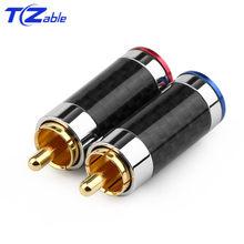2 pçs plug rca conector de fibra de carbono áudio jack banhado a ouro cobre splice adaptador fio de solda conectores rca alto-falante de alta fidelidade masculino