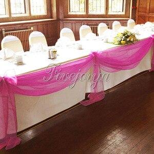 Image 4 - 5Pcs/Lot 5M*1.4M Top Table Organza Swag Sheer Organza Fabric DIY Material Wedding Party Banquet Table Top Stair Decor
