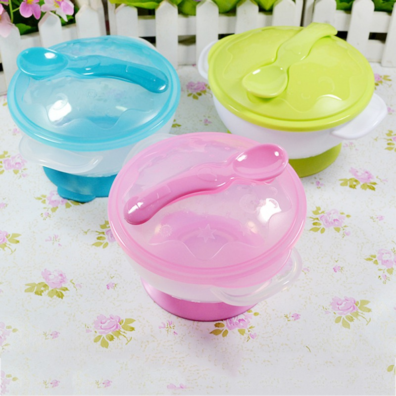Baby Anti-slip Double Ear Sucker Bowl With Lid With Spoon Baby Training Bowl Baby Food Supplement Tableware GCA H