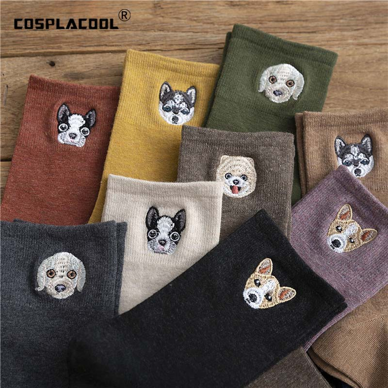 Warm Harajuku Embroidery Animal Funny Socks Women Kawaii Japanese Skarpetki Cute Socks Novelty Cotton Calcetines Mujer Sokken