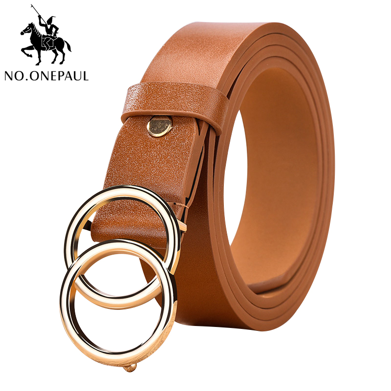 NO.ONEPAUL The Belts For Women Adjustable Double Ring Alloy Fashion Retro Buckle Head Slim Waist Belt Women Belt Free Shipping