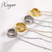 XINYAO Smple Circle Necklace Golden Color Irregular Round Minimalist Womens Pendant Statement Birthday Jewelry