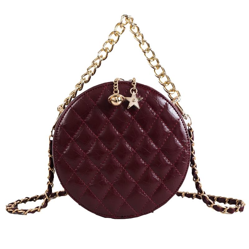 2019 HK style retro bag female new wave round bag Korean version wild fashion chain messenger bag