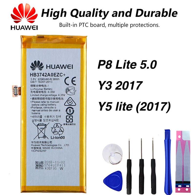 Original Huawei Phone Battery For Huawei P8 Lite 5.0 Y3 2017 Y5 Lite (2017) CRO-L02 CRO-L03 CRO-L22 CRO-L23 HB3742A0EZC 2200mAh