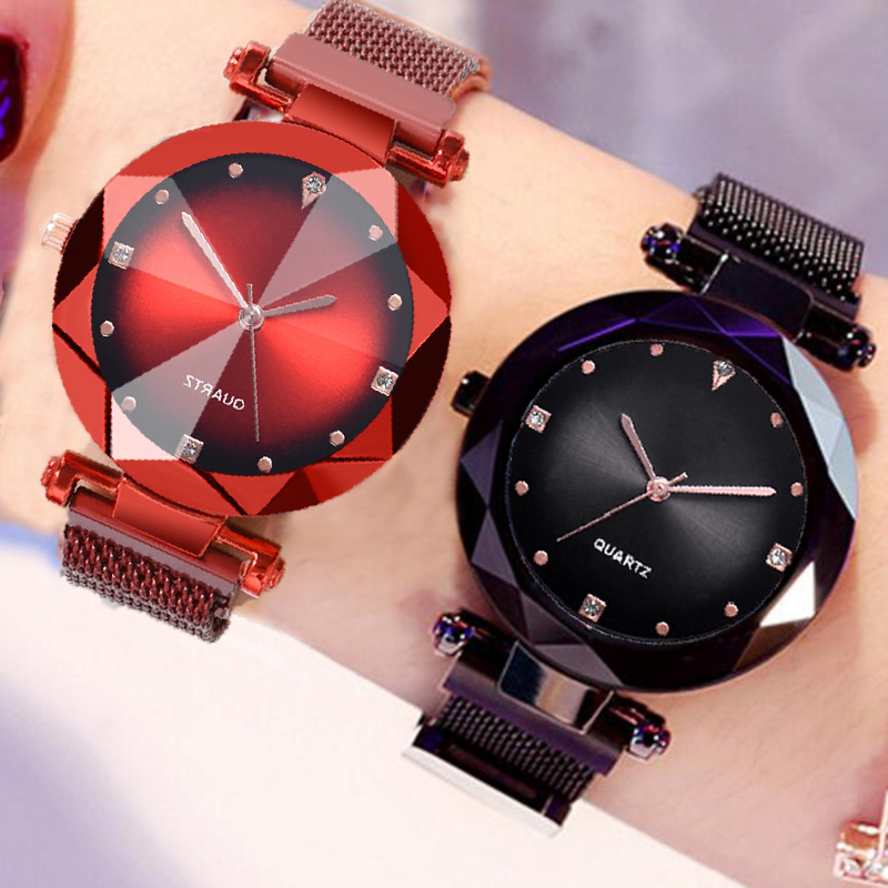 Women's Watches Mesh Magnet Buckle Starry Sky Watch Casual Luxury Ladies Geometric Quartz Watches Relogio Feminino Rose Gold