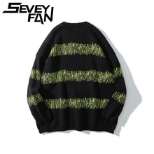Autumn and Winter Tide Brand Men's Knitted Sweater Dark Black Color Matching Loose Couple Tops Men and Women Pullovers