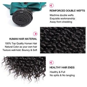 Image 2 - Bling Hair Extensión de cabello humano Remy, 3 mechones rizados con cierre 100% extensiones de pelo ondulado mechones brasileños con cierre de encaje 4x4