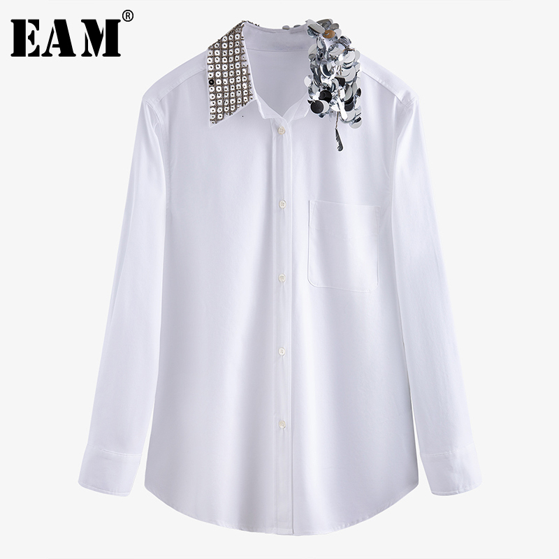 [EAM] Women White Rhinestone Split Joint Blouse New Lapel Long Sleeve Loose Fit Shirt Fashion Tide Spring Autumn 2020 1N211