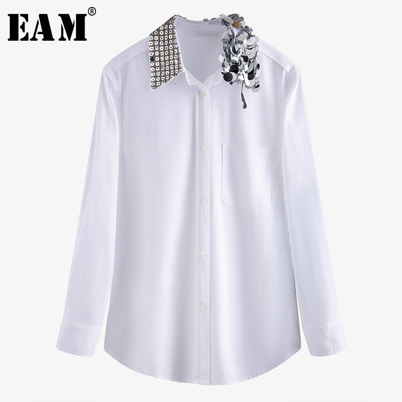 [EAM] Women White Rhinestone Split Joint Blouse New Lapel Long Sleeve Loose Fit Shirt Fashion Tide Spring Autumn 2020 1N211