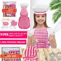 11Pcs Apron Kids Cooking Baking Set Kitchen Girls Toys Chef Role Play Children Costume Pretend Role Play Baking Cooker Play Set