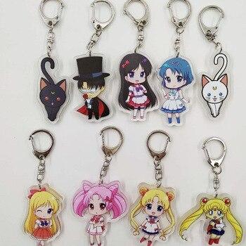 Anime Sailor Moon Keychain Acrilico Puntelli Cosplay Accessori della catena Chiave Del Pendente Doppio-sided Modello