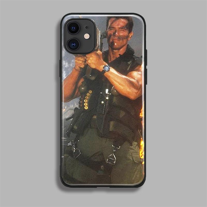 H92ae0fdc8fc64f8fbf4091b51f6f0098P Arnold Schwarzenegger movie Commando 1985 poster glossy smooth tempered glass case For Apple iPhone 11 PRO MAX i11 pro coque