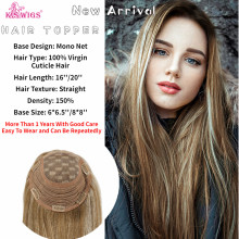 Topper WIG Hair-Toupee Mono-Net Human-Hair Women Remy Virgin with Clip-In for Cuticle