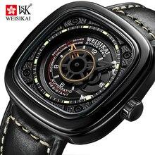 WEISIKAI Automatic Watch Men Square Creative Automatic Mechanical Watches Luminous Waterproof Wristwatch Male Sport Clock 6010