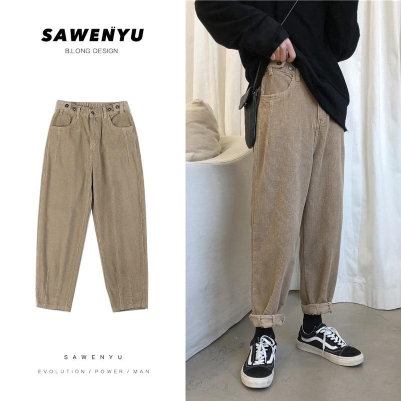 Winter Thick Corduroy Pants Men's Fashion Solid Color Retro Casual Pants Men Streetwear Cotton Harem Pants Mens Trousers M-2XL