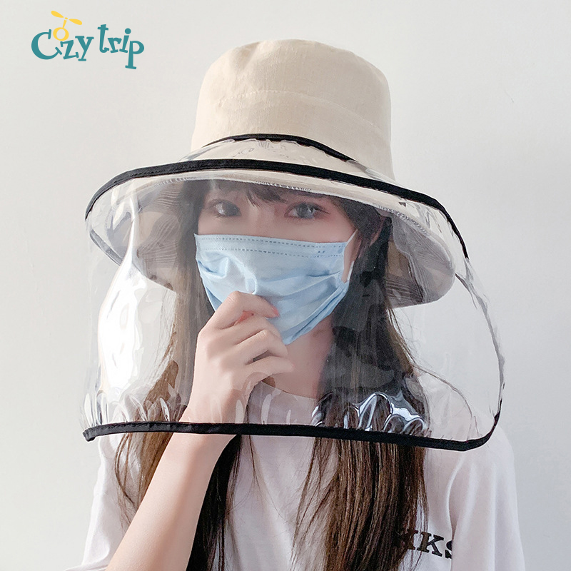 2in1 Clear Anti Spitting Droplet Sun Hats With Visor Protective Packable Summer Hat Anti-Saliva UV Protection Fishing Hats