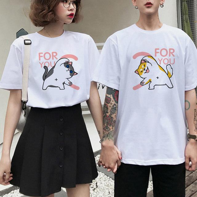 Cartoon Cat Printed Couple T-Shirt
