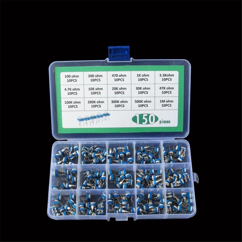 150pcs/set 100R-1M Trimming Potentiometer Variable Resistors Assorted Kit Electronic Diy Kit 15 Values Each 10pcs With Box