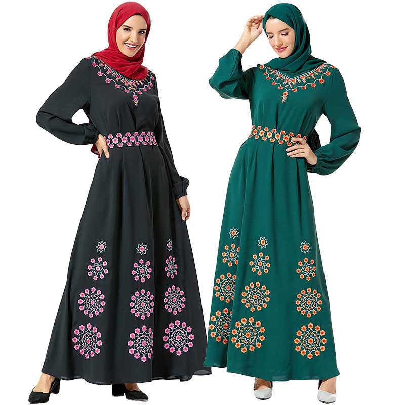 Zarif nakış kemer müslüman başörtüsü elbise kadınlar İslam giyim uzun kollu büyük salıncak Maxi elbise ekleme Dubai Kimono kaftan