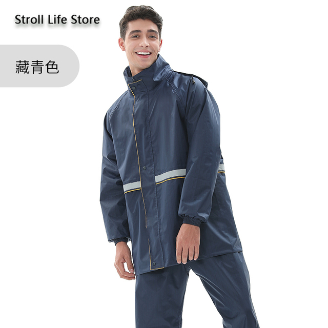 Motorcycle Raincoat Women Men Rain Jacket Electric Car Double Layer Split Reflective -Proof Pants Set Impermeable Birthday Gift 4