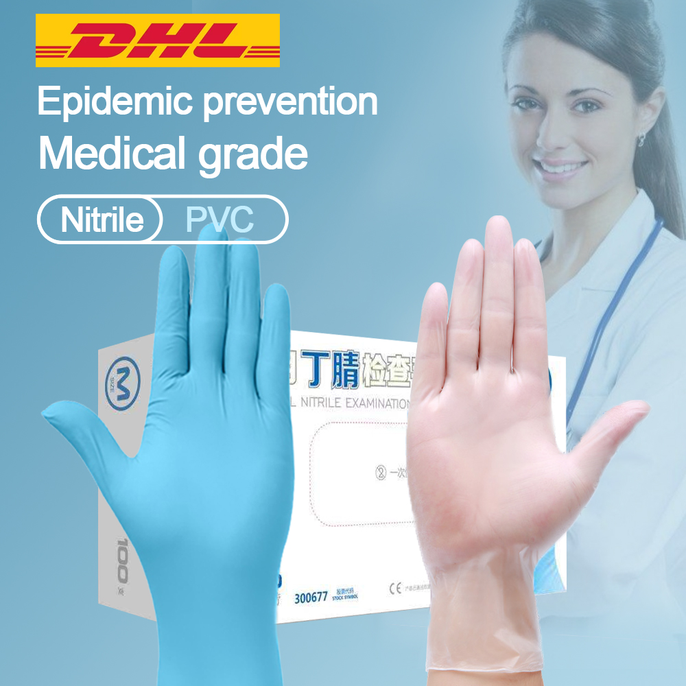 Medical disposable examine gloves 100pcs/box Anti static PVC gant  latex jetable Gloves For Food Cleaning Gloves AccessoriesBraces
