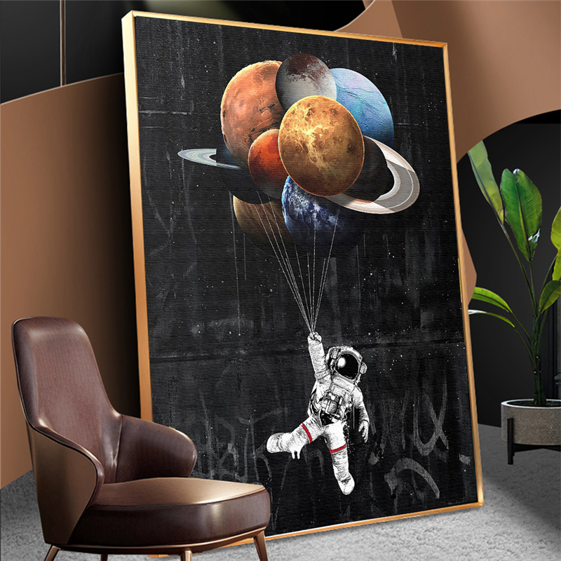 Astronaut Outer Space Oil Painting on Canvas Kids Room Decor Dreaming Stars Poster and Print Wall Pictures for Home Decoration(China)